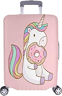 """InterestPrint Cute Cartoon Unicorn Eating Donuts Travel Luggage Cover Suitcase Baggage Protector Fits 22""""-25"""" Suitcase"""