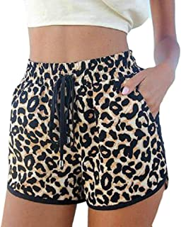 MU2M Women Soft Comfort Drawstring Summer Print Leopard Beach Casual Shorts Pants