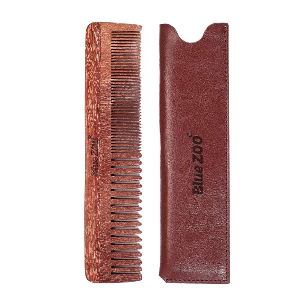農夫評論家組み込むB Baosity ウッドコーム 口ひげ櫛 ダブルサイド メンズ プレゼント 2色選べ - 褐色