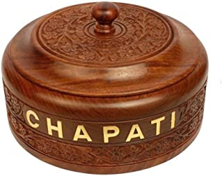 WILLART Handicraft Wooden Stainless Steel Bread Chapati Box Casserole with Engraved Design Finish Kitchen Home Décor Ideal...