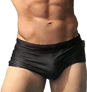 Taddlee Mens Swimwear Sexy Swim Boxer Briefs Bikini Surf Solid Black Swimsuits (XL)
