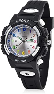 AIKURIO Kids Watches Easy Read 50M Waterproof with Luminous Pointer and Rubber Strap AKR015