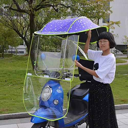 GYMO Ombrellone per Moto Elettrico per Uso Generale, Parasole Impermeabile E Copertura Antipioggia, con Parabrezza in PVC, Copertura per Ombrellone per Auto con Batteria per Autoveicoli,Púrpur