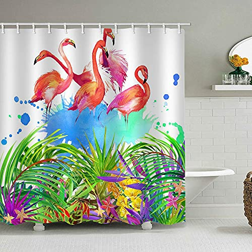 Cortina baño Divertida Cortina de Ducha para baño Hoja Colorida linealidad Hoja Polvo Hoja Hoja Caliente 180*200cm para decoración de baño 3D, Impermeable, respetuosa con el Medio Ambiente, la