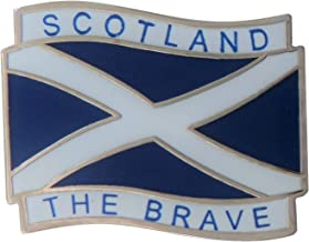 1000 Flags Limited Scotland Wavy St Andrew's Saltire 'Scotland The Brave' Flag Enamel and Metal Pin Badge