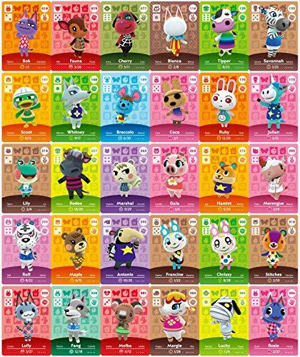 30 Stück NFC-Mini-Cards für Animal Crossing: New Horizons Amiibo , Seltene Dorfbewohner mit Kartenhalter für Switch / Schalter Lite / Wii U
