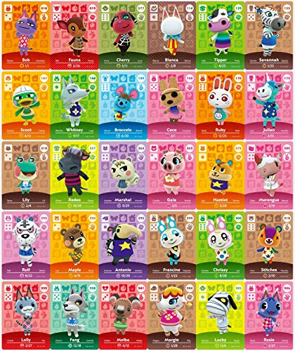 NFC Mini Amiibo Cards for 30 pcs Rare Villager with Card Holder for ACNH Animal Crossing New Horizons Switch/Switch Lite/Wii U (New Horizons, New Leaf )
