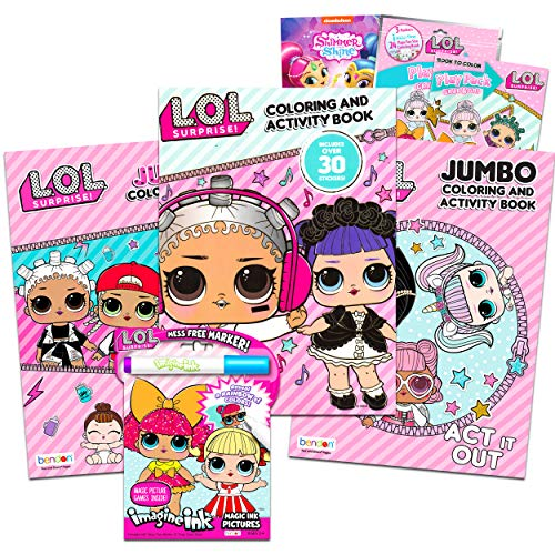 L O L Dolls Coloring and Activity Books Set for Girls Kids Toddlers ~ 6 Pack Bundle ~ 3 LOL Coloring Books, 1 Mess-Free Game Book, Play Pack, Stickers, Tattoos and More (LOL Party Supplies)