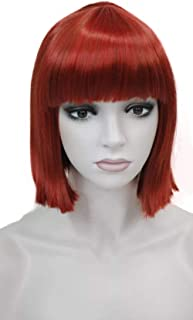 Wiginway Short Red Bob Wig Point Part Bangs Full synthetic Wigs (Red)