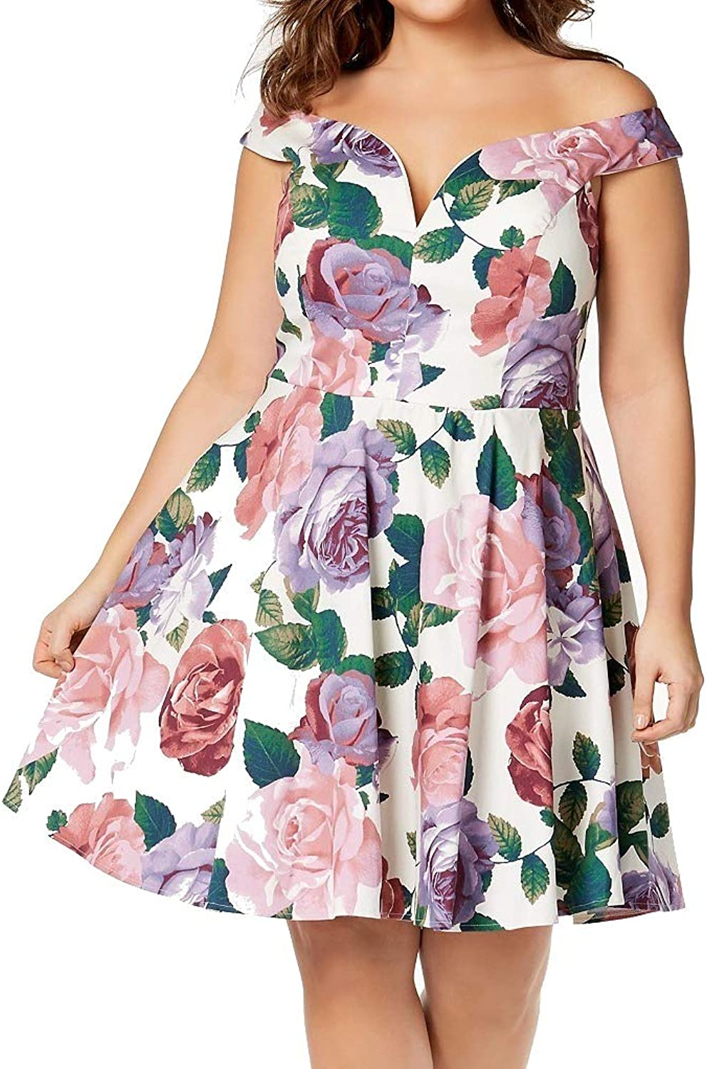 City Studios Trendy Plus Size Printed OffTheShoulder Dress