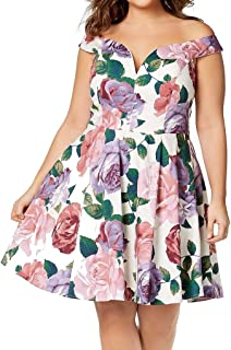 City Studios Trendy Plus Size Printed Off-The-Shoulder Dress
