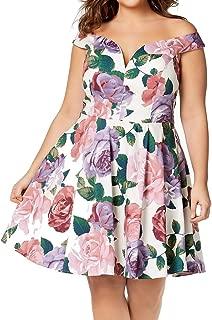 City Studios Trendy Plus Size Printed Off-The-Shoulder Dress