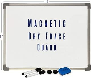 White Kaiman Magnetic Dry Erase Whiteboard w/Silver Frame - Easy Mount for Portrait or Landscape - Incl White Board, 2 Marker, 1 Eraser, 3 Magnets (11