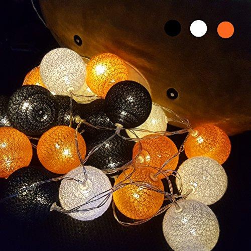 Guirlande Lumineuse, Morbuy Batterie Chaîne de Lumière Boules Coton LED Cosy Lumière Couleur Décoration Pour La Saint Valentin Noël Fêtes Mariage d'autres Fêtes Ou Occasions Etc (4.8m / 20 Boule lumière, Orange)