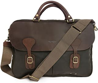Barbour Wax and Leather Briefcase - Olive