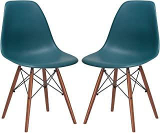 Poly and Bark Vortex Modern Mid-Century Side Chair with Wooden Walnut Legs for Kitchen, Living Room and Dining Room, Teal (Set of 2)