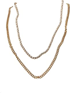 Urban Classics Double Layer Diamond Necklace Gemelli, Gold, One Size Unisex-Adulto