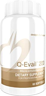 Designs for Health Q-Evail 200 - CoQ10 Ubiquinone 200mg Softgels, Natural Coenzyme Q10 with MCT + Mixed Tocopherols (60 Softgels)