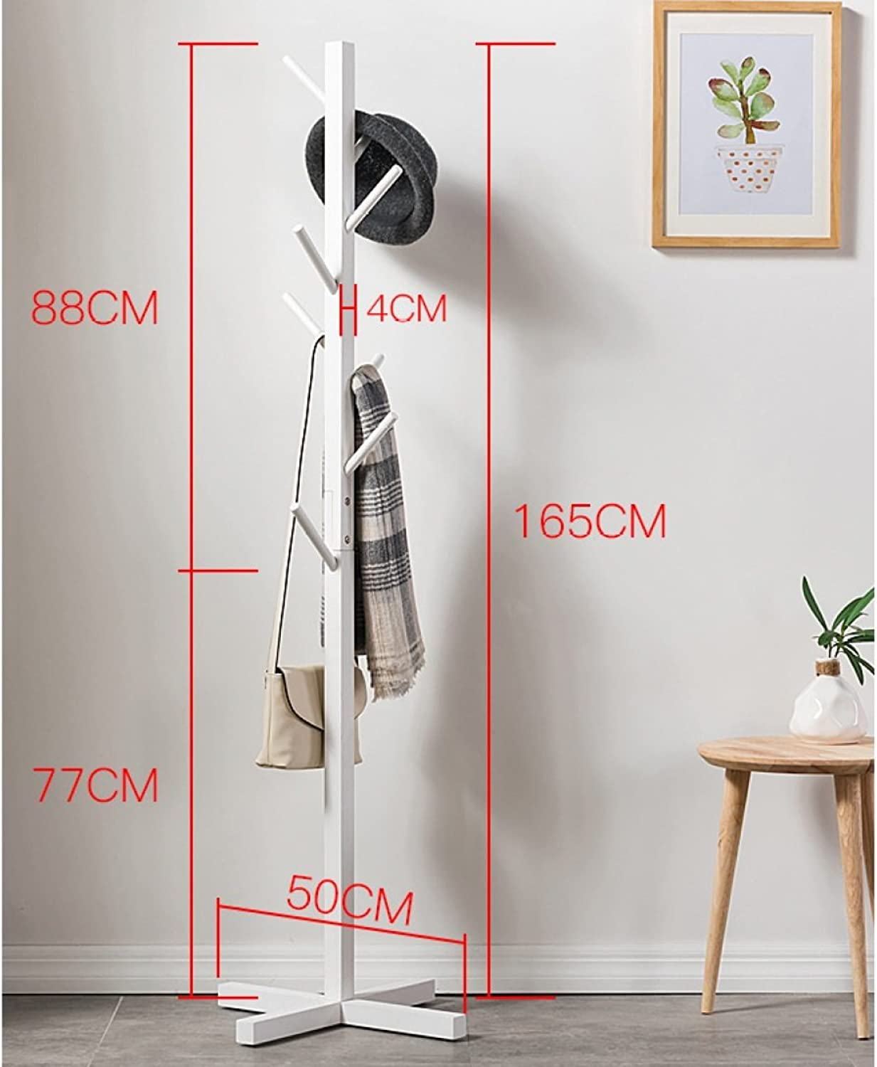 LF Solid Wood Coat Rack Living Room Bedroom Bag Rack Hall Hanger Storage Shelf Multi-color Clothes Tree (color   White, Size   B)