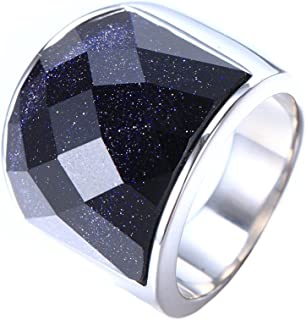 INRENG Men's Stainless Steel Blue Sky Diamond Cut Gemstone Ring 19mm Wide Wedding Band