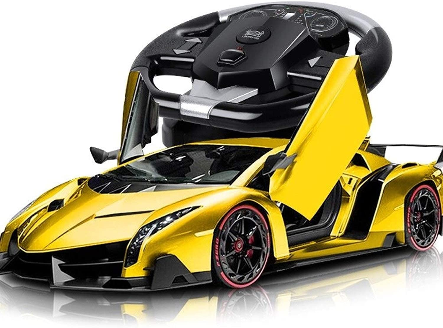 Kiki Remote Control Supercar 1 /10 Electric Recharable Radio Controlled 2.4G RC Auto Drifting Race Model Electronic Sports Racing con Flashing Light  ldren Holiday Gifts Yellow