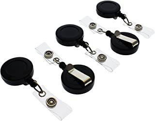 "100 Pack - Premium Retractable ID & Key-Card Badge Reels with Secure Metal Belt Clip and 34"" Pull by Specialist ID"