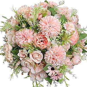 Silk Flower Arrangements Nubry 3pcs Artificial Flowers Bouquet Fake Peony Silk Hydrangea Wildflowers Arrangements with Stems for Wedding Home Centerpieces Decor (Light Pink)