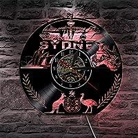 オーストラリアの壁時計オーストラリアの街並みのエンブレム壁アートシドニーのスカイラインビニールレコードの壁時計シドニーオペラハウスヴィンテージ時計LEDなし