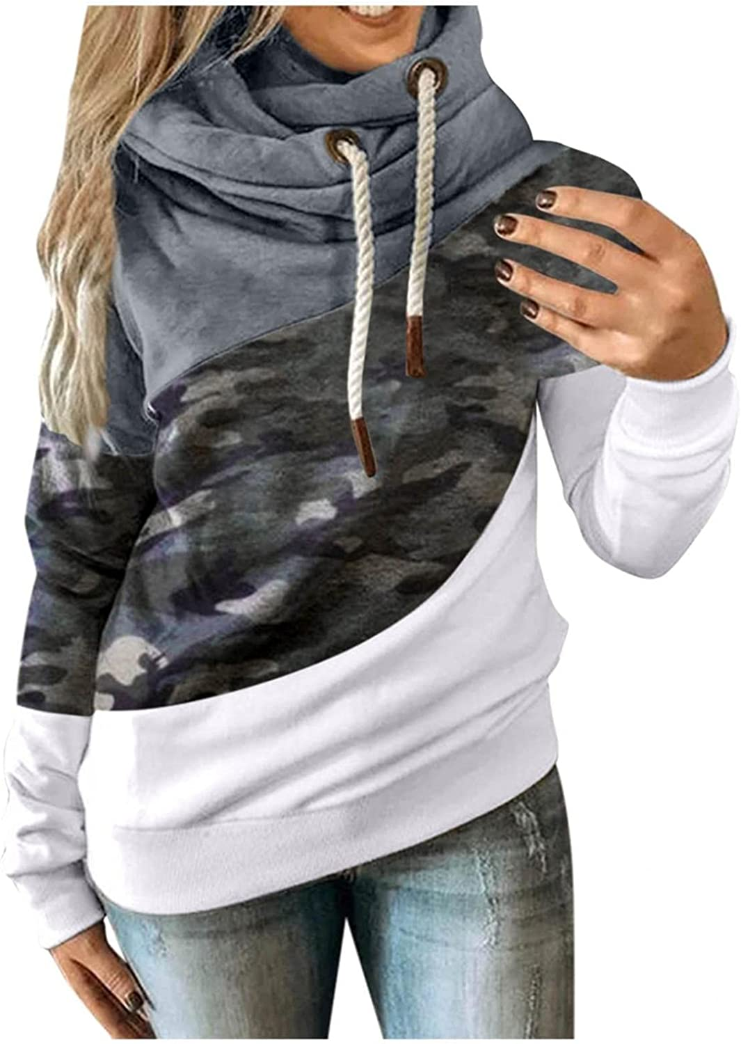 Hoodies for Women Pullover Color Block Long Sleeve Sweatshirts Camouflage Casual Drawtsring Sweater Tops