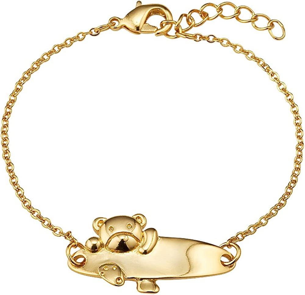 Lovearing 14k Gold Plated Brass Baby Bear ID Rolo Link Chain Girls 6