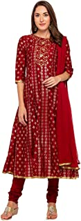 Haute Curry by Shoppers Stop Womens Round Neck Printed Churidar Suit_Red