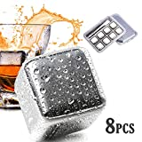 iProtech 8 Pack Reusable Stainless Steel Ice Cubes, Chilling Stones W/Tongs & Freezer Tray Gift Set for Whiskey, Wine, Beer, Vodka, Liqueurs, Drinks Cooler