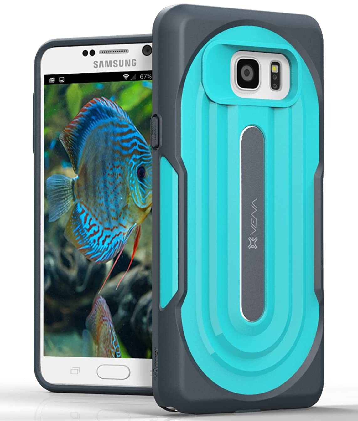 Samsung Galaxy Note 5 Rugged Case - VENA [vArmor] Ultimate Protection [Slim | Heavy Duty] Hybrid Case Cover for Samsung Galaxy Note 5 (Dark Gray/Turquoise Teal)
