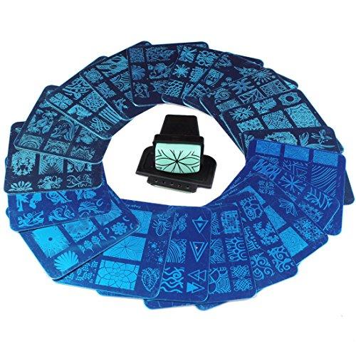 Finger Angel 20 Pcs Différents Design Nail Art Stamping Plaques + 1 Pcs Carré Vert Caoutchouc Stamper DIY Nail Art Image Timbres Plaques Manucure Modèle Nail Art Outils