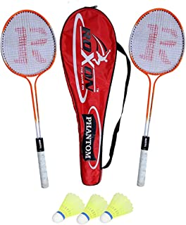 ROXON Phantom Double Shaft Iron Body Badminton Racket Pack of 2 Piece with 1 Piece Full Cover and 3 Piece Plastic Shuttle