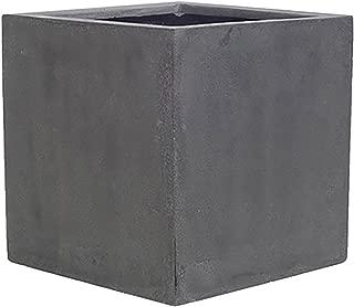 Pottery Pots Elegant Fiberstone Cube Planter Grey Pot - 12