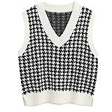 Gilet in maglia da donna con scollo a V, senza maniche, con spacchetti laterali, alla moda e femminile bianco L