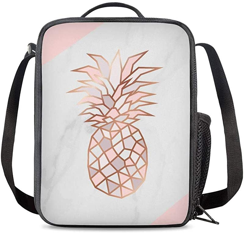 KiuLoam Marble Rose Gold Pineapple Kids Small Lunch Box Children S Insulated Lunch Bag With Zipper Shoulder Strap Cooler Lunch Tote For Boys Girl Preschool Office Picnic