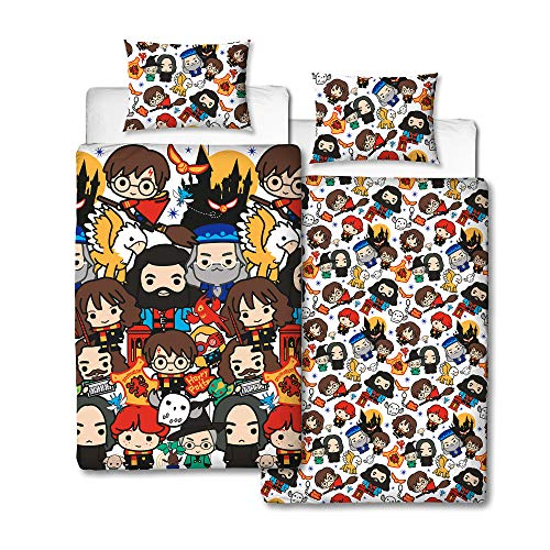 Harry Potter Charm Design Single Reversible Two Sided Official Bedding Duvet Cover with Matching Pillow Case, Multi