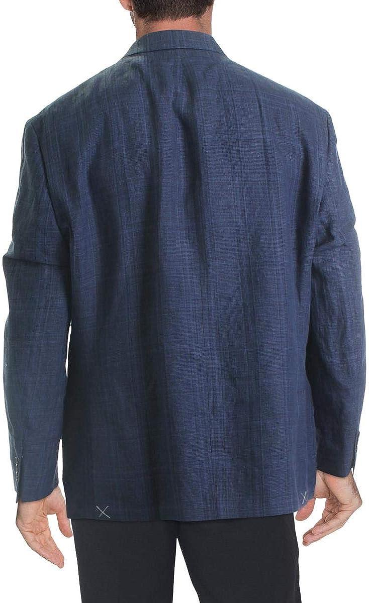 Lauren byRalph Lauren Mens Sport Coat Navy R Plaid Linen Blue 46