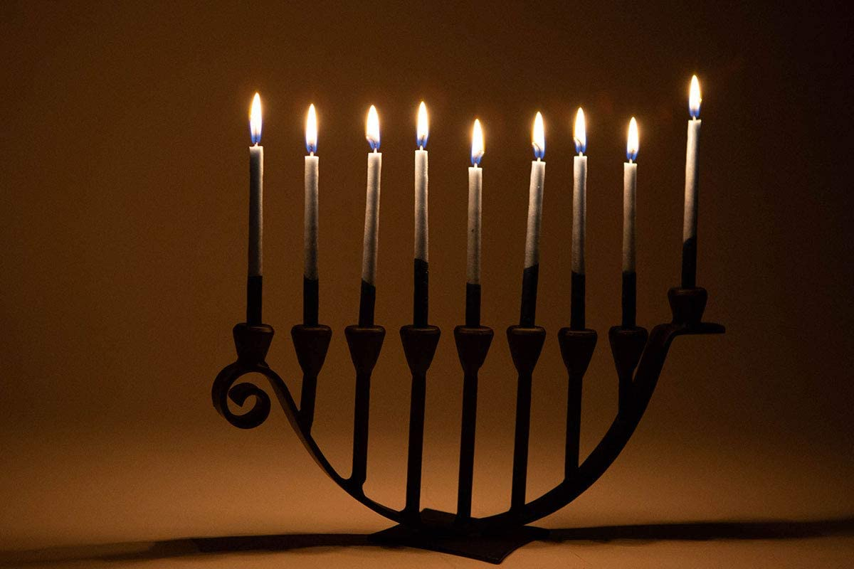 Marie D/écor Blacksmith Handmade Iron 9 Branch Hanukkah Menorah Candle Holder Menorahs for Chanukah Black MD25002-B