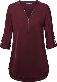 Women's V Neck Chiffon Blouse Half Zip up Casual Tunic Shirts