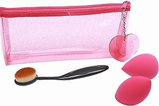 ファンデーションブラシセット 歯ブラシ型ファンデーションブラシと多機能型美粧スポンジ (可愛い化粧ポーチ付き)