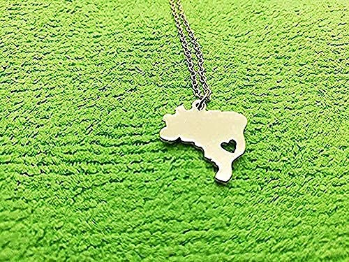 ZPPYMXGZ Co.,ltd Necklace Fashion South America Necklace Brazil Country Map Necklace Brazilian Necklace Brazil Pride I Heart City of Sao Paulo Souvenir Necklaces Gifts Necklace Gift