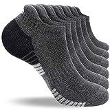 anqier 6 Paar Sneaker Socken Herren 43-46 39-42 35-38 47-50 Baumwolle Sportsocken Damen Gepolsterte Laufsocken Schwarz Weiß Grau Atmungsaktiv Kurz socken