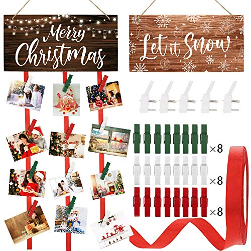 2 Pieces Christmas Wooden Card Holder Let It Snow Hanging Picture Holder Merry Christmas Wooden Photo Display Hanger with 24 Clips, Ribbon, 9 Non-Trace Wall Hook for Wall Home Office Room