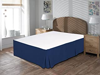 whitecottonworld Mega Sale Offer 600 Thread Count Durable Egyptian Cotton King Size 1-Pieces Split Corner Tailored Bed Skirt 16 Inch Drop Length, Navy Blue Solid