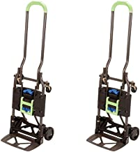 Cosco Shifter 300-Pound Capacity Multi-Position Heavy Duty Folding Hand Truck and Dolly, (Green 2 Pack)