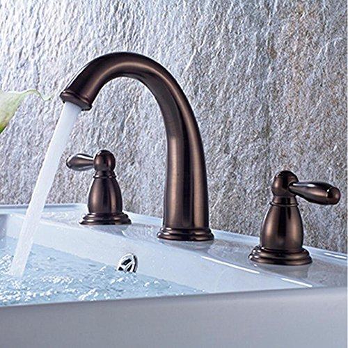 JRUIA Grifo de lavabo retro con 3 orificios, grifo de baño, grifo de dos mandos, grifo mezclador para lavabo, de latón cepillado (ORB)