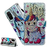LEMAXELERS Custodia Galaxy S20 Plus Cover Portafoglio,Samsung Galaxy S20 Plus Custodia Bling Luccichio Pittura Colorata Wallet Shock-Absorption Magnetica Supporto Leather Flip Cover,YB Star Unicorn